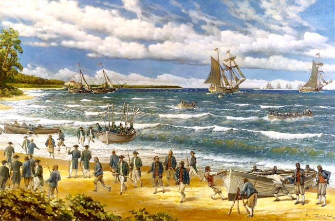 The Battle of Nassau (1776) Painting