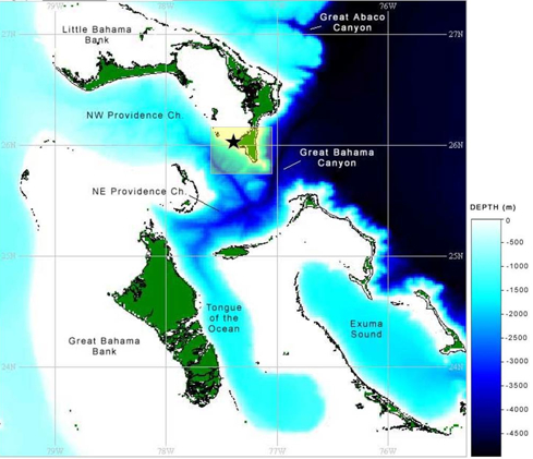 BAHAMAS SEA DEPTH MAP (NEAQ)