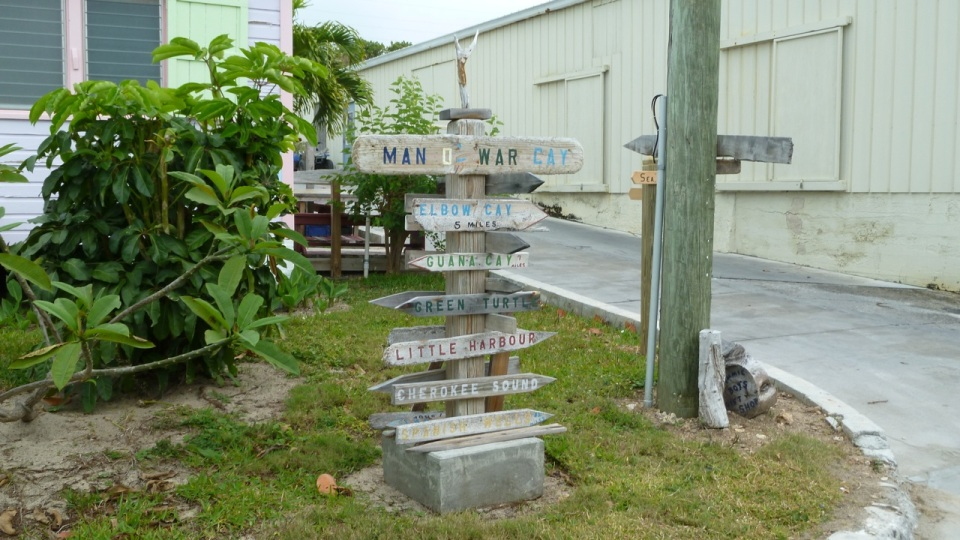 Man-o-War Cay signpost, Abaco misc11