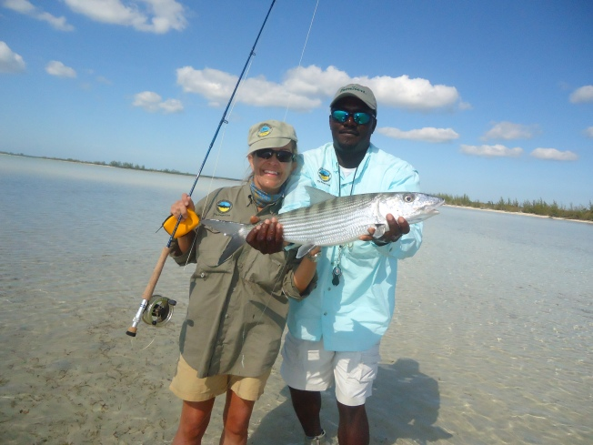 TRISH WITH GUIDE TONY & THE BIG FISH