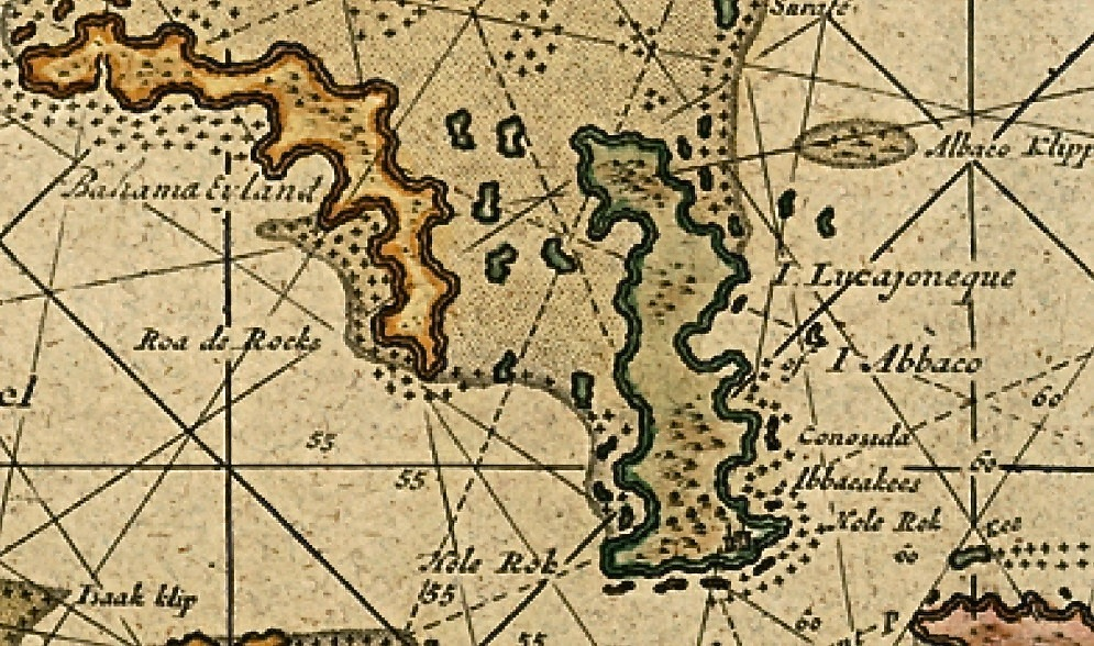 Abaco history ships maps hole in the wall rolling harbour abaco this second much clearer and later print of the same van keulen map demonstrates why hole in the wall is of such historic importance to the abacos sciox Gallery