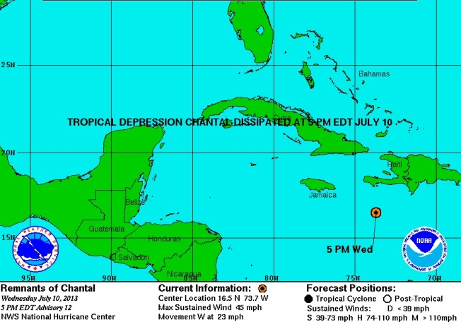 TD Chantal dissipated NOAA