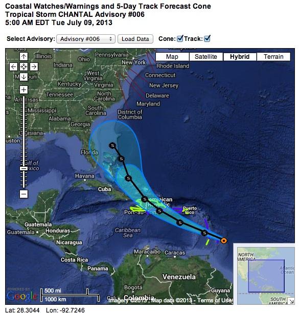 TS Chantal 9.7 1 NOAA Image