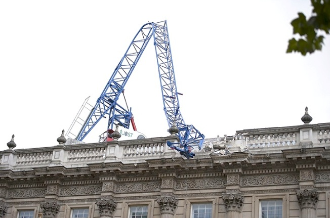 Storm Jude collapsed crane, London