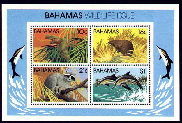 Bahamas Wildlife Stamp Set - Bat, Hutia, Raccoon, Dolphin