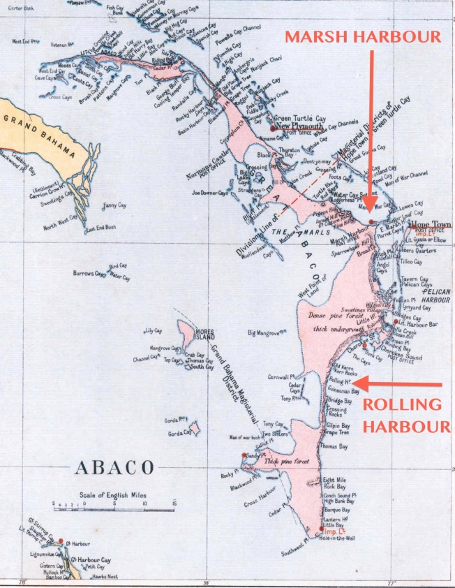 Abaco Map showing Rolling Habour