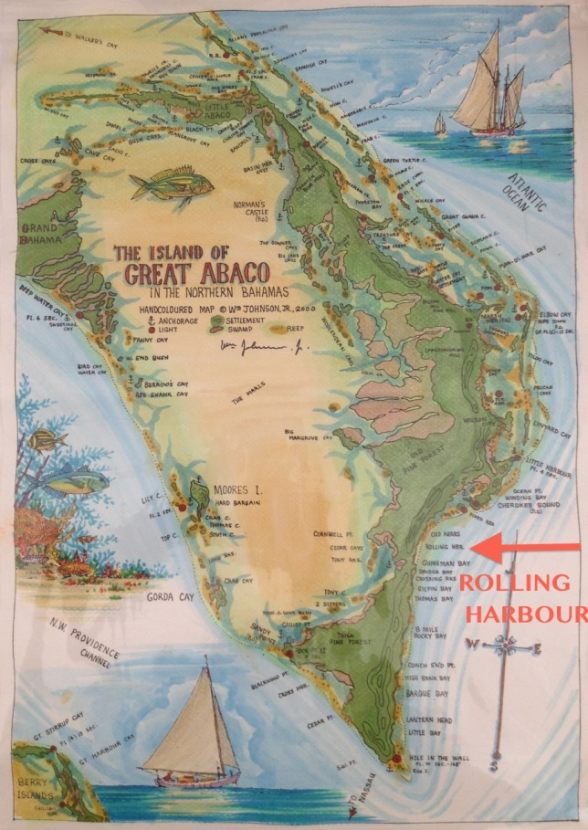 Abaco Map showing Rolling Habour ('The Johnson Map')