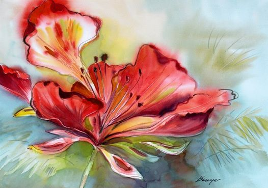 Flamboyant - Brigitte Bowyer Carey - Island Watercolors