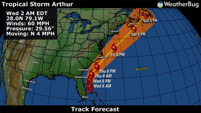 Tropical Storm Arthur Weatherbug 1