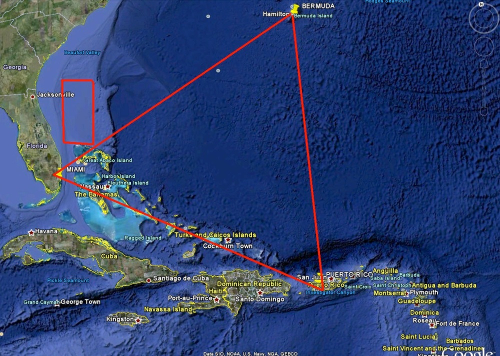 Bermuda triangle map NOAA / Google