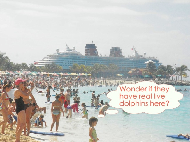 Disney Magic docked next to the Castaway Cay Family Beach copy