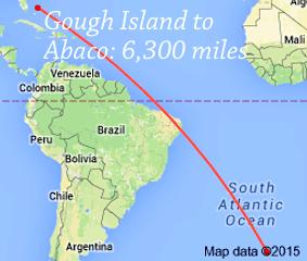 Gough Island to Abaco 6300 miles
