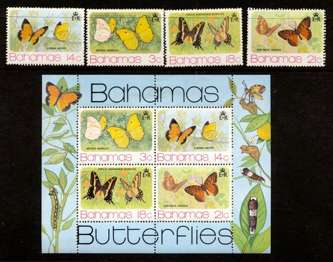 Bahamas Butterfly Stamps 1974