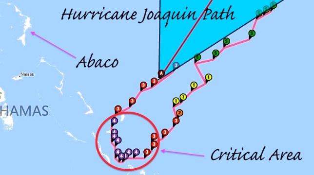 Hurricane Joaquin Storm path October 3