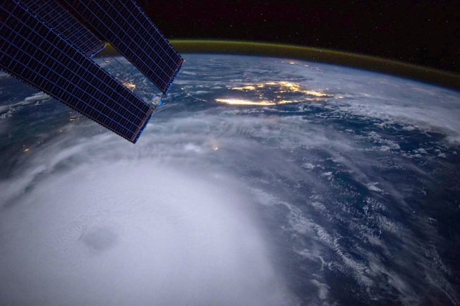 Hurricane Joaquin at dawn from International Space Station, Oct 2 (Scott Kelly / ISS / NASA)