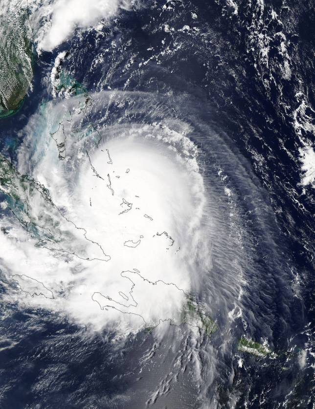 Hurricane Joaquin over central Bahamas, seen from space