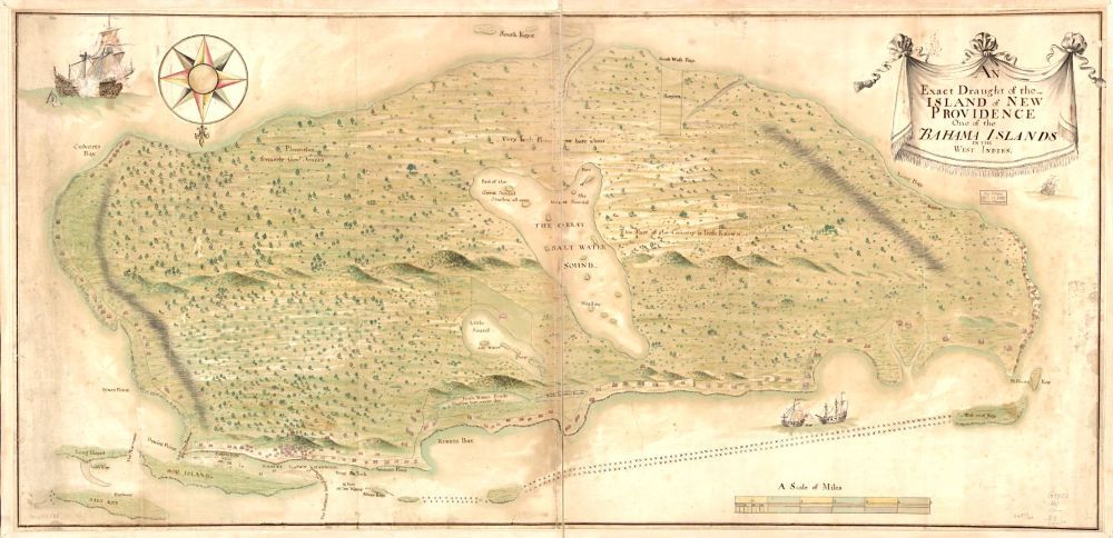 Map of New Providence / Nassau Bahamas (early c18)