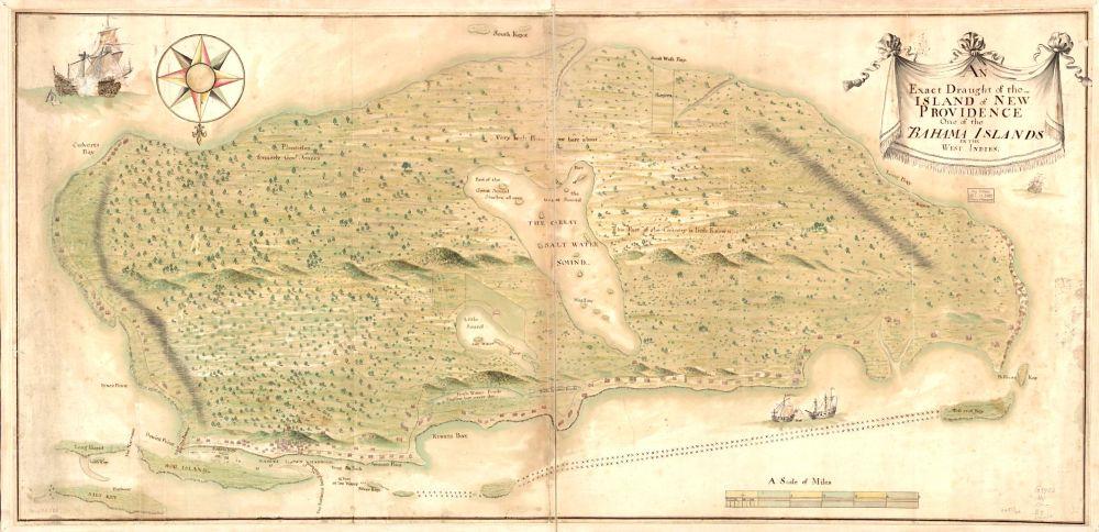 Map of New Providence / Nassau Bahamas (early c18)