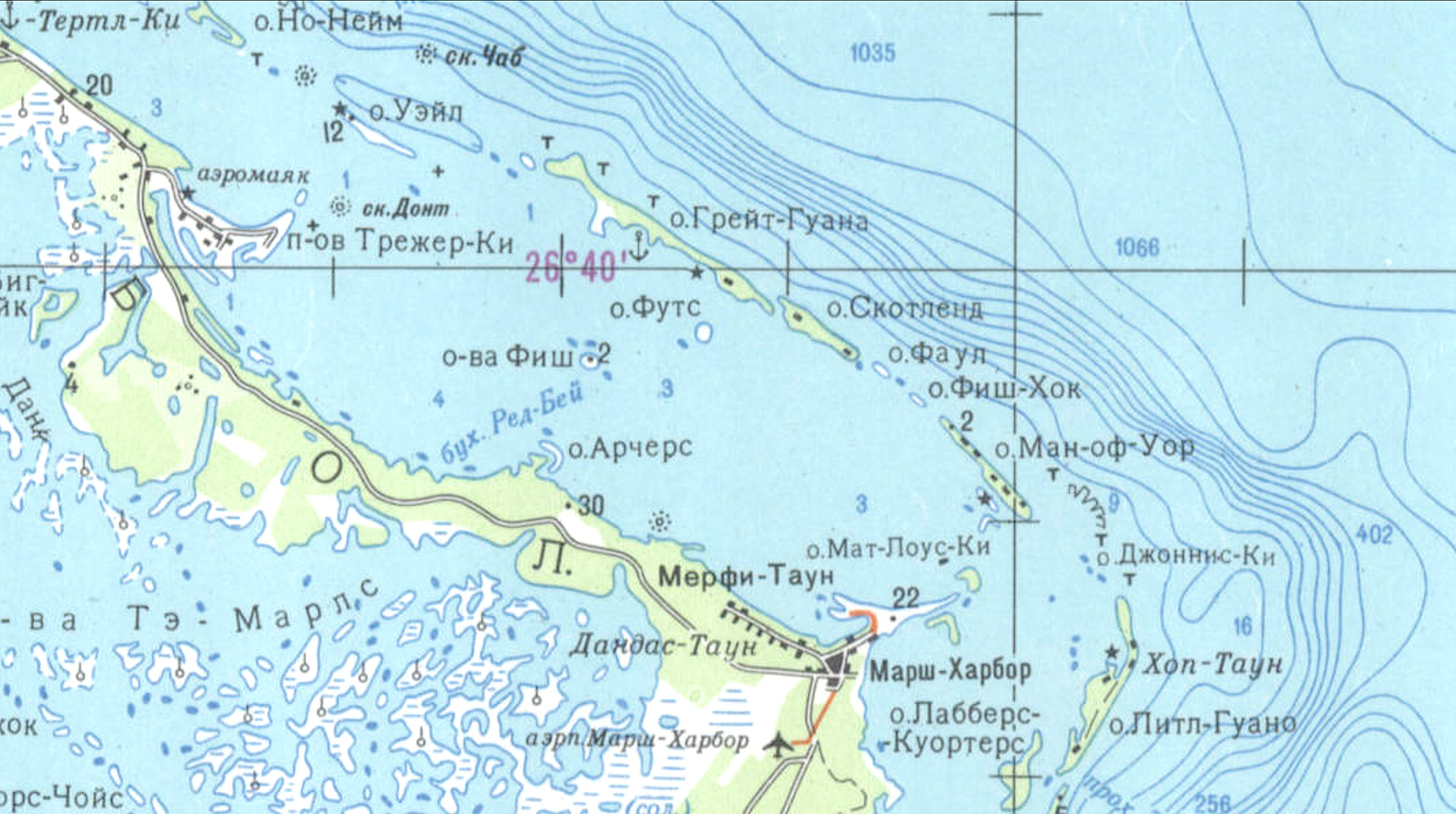 Soviet Russian Military Map of Abaco 1979 Detail 1