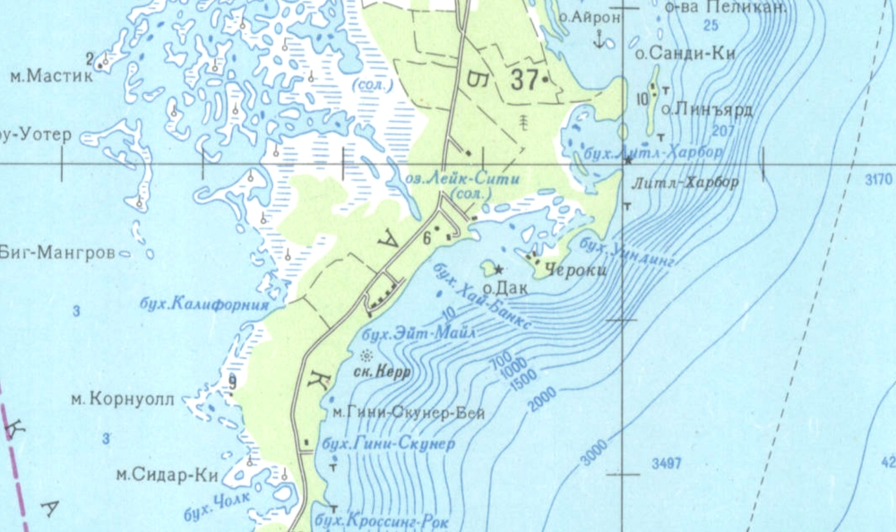 Soviet Russian Military Map of Abaco 1979 Detail 3