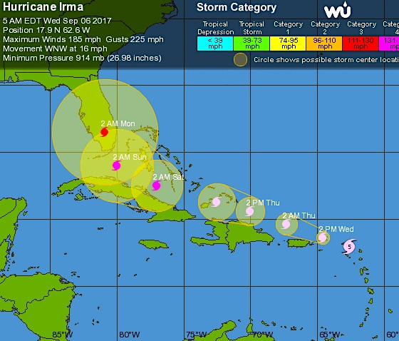 Hurricane Irma Tracking Path Sept 6th 2017 Wunderground
