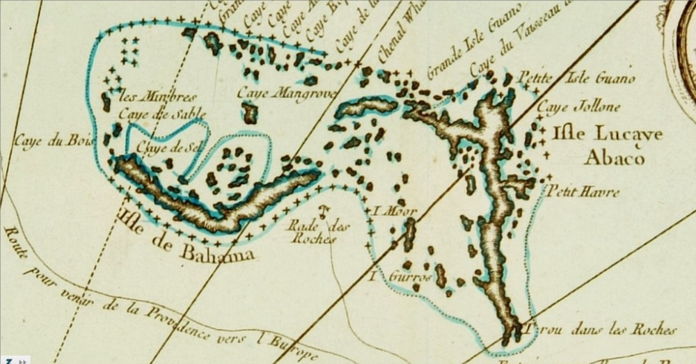 Bellin Map 1764 - Carte des Isles Lucayes