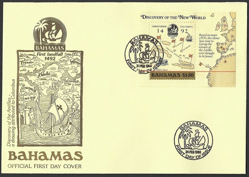 Bahamas Map Stamp (First Day Cover)