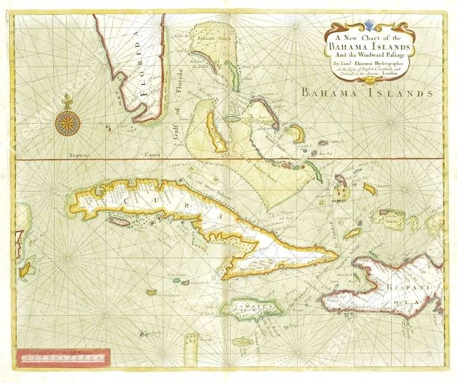 Map of the Bahama Islands - Samuel Thornton - c1702