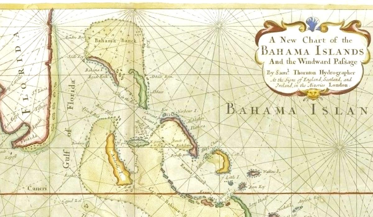 Map of the Bahama Islands - Samuel Thornton - c1702