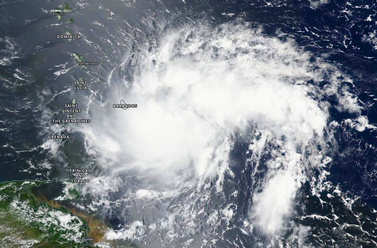Tropical Storm Dorian . Aug 27 . Cloud formation. Aerial view. NOAA NHC NASA