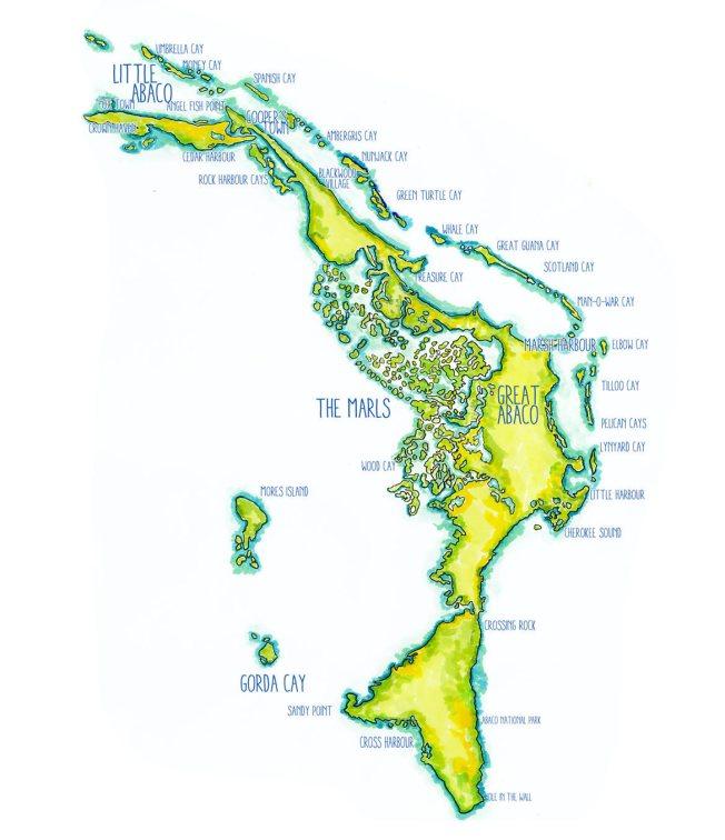 Abaco Map Sandy Estabrook